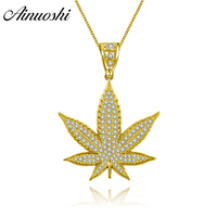 AINUOSHI 10K Solid Yellow Gold Pendant Shining Maple Leaf Pendant SONA Diamond Woman Men Children Jewelry 16.2g Separate Pendant