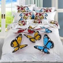100% хлопок бабочка 3D постельных принадлежностей цветы лебеди постельное белье пододеяльник простыня в полный размер королева, Узоры реалистичные высокая-d