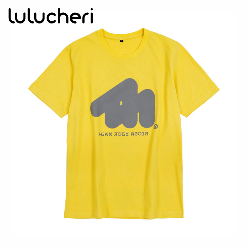 Splatoon 2 Splatfest  Squid Force Cosplay Yellow Basic Tee Short Sleeves Cotton Shirts Halloween Costume Casual T-shirt for Men