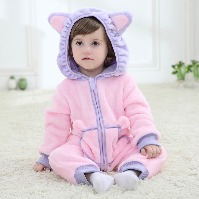 Cat Rompers Baby Animal Jumpsuits Flannel Newborn Baby Girls Boys Clothes Infant Clothing Toddler Romper baby rompers winter star patter long sleeve jumpsuits infant boys girls clothes newborn toddler costume children autumn clothing