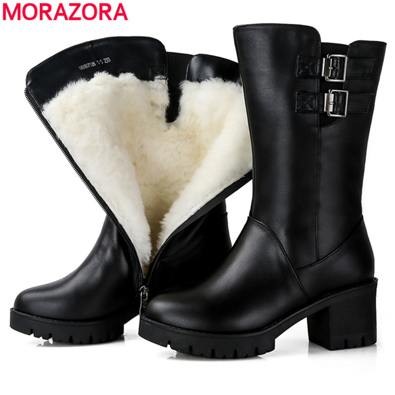 MORAZORA 2018 genuino stivali di pelle delle donne punta rotonda della piattaforma di modo scarpe a metà polpaccio naturale di lana caldo delle signore di inverno stivali da neve