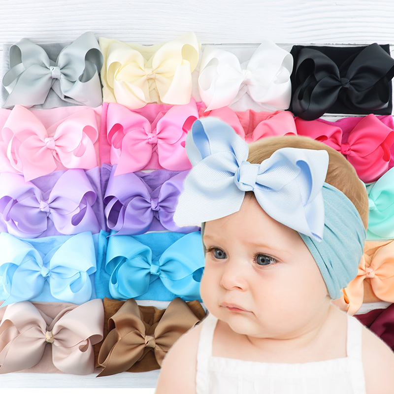 Baby Headband Baby Bow Nylon For Girls , Baby Girl Headbands Newborn With Bows , Bandeau Bebe Fille Headband Baby Turban Bow