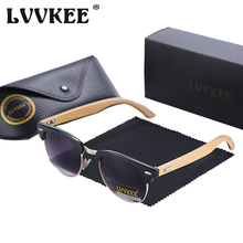 LVVKEE Brand design half-frame sunglasses Men/Women wood bamboo Top quality Metal Points Sun glasses lunette de soleil femme