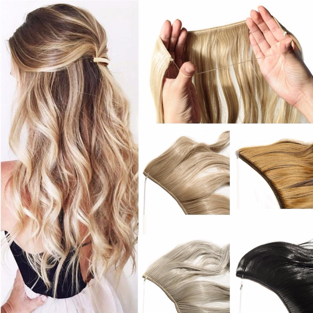 Alileader 22 Inch 55cm Synthetic Long Straight Hair Extension Invisible Fish Line Hair Extensions No Clips 40 Color Available Professional Design Synthetic Extensions Synthetic Clip-in One Piece