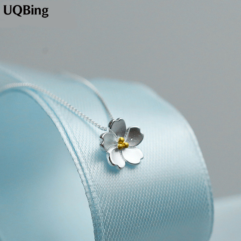 Drop Shipping 925 Sterling Silver Flower Kaulakorut Cherry Blossoms Kaulakorut Korutarvikkeet Collar de Plata