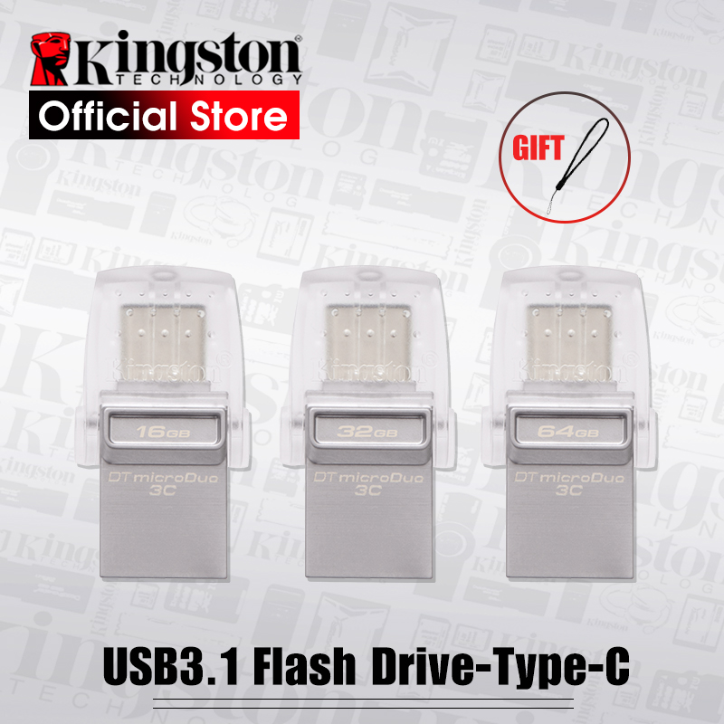 Kingston USB Flash Drive DataTraveler Micro Duo 3C 64GB 32GB 16GB USB 3.1 For PC Phone with Type-C Port