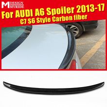 For Audi A6 A6Q Spoiler Tail A6 C7 S6 Style Carbon Fiber rear spoiler Rear trunk Lid Boot Lip wing car styling Decoration 13-17 стоимость