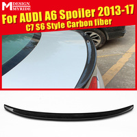 For Audi A6 A6Q Spoiler Tail A6 C7 S6 Style Carbon Fiber rear spoiler Rear trunk Lid Boot Lip wing car styling Decoration 13 17