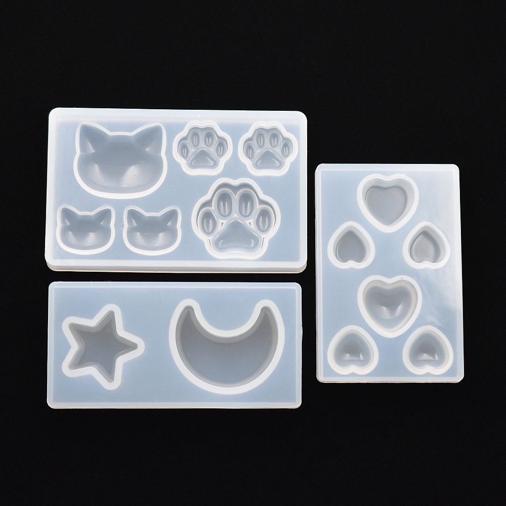 SNASAN Cat Bear Paw Heart Moon Star Silicone Mold Resin Silicone Mould Handmade DIY Jewelry Making Epoxy Resin Molds