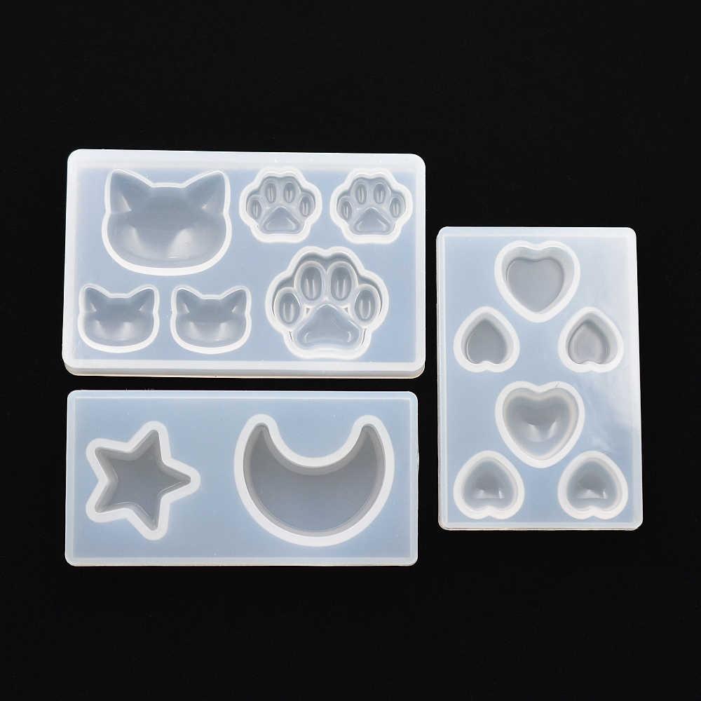 SNASAN القط الدب باو القلب القمر ستار قالب من السيليكون الراتنج سيليكون قالب اليدوية لتقوم بها بنفسك صنع المجوهرات قوالب راتنجات الايبوكسي