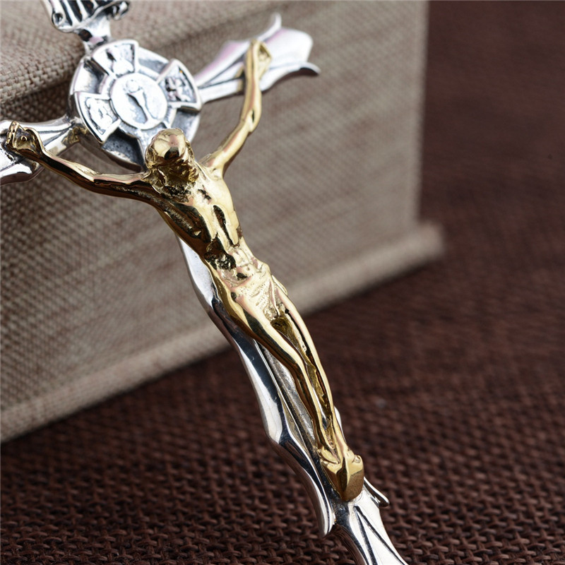 BESTLYBUY Real 925 Sterling Silver Jesus Cross Pendant Gold Color Vitnage Personality Retro Type jewelry for Men Women