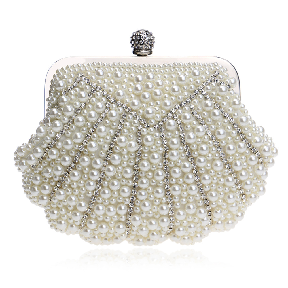 Women's Evening Bag with Pearls and Crystal Diamonds, Shell Handbag Fit Wedding Party, Beautiful Luxury Purses лак для ногтей deborah lippmann shimmer nail polish diamonds and pearls цвет diamonds and pearls variant hex name e9cdbf