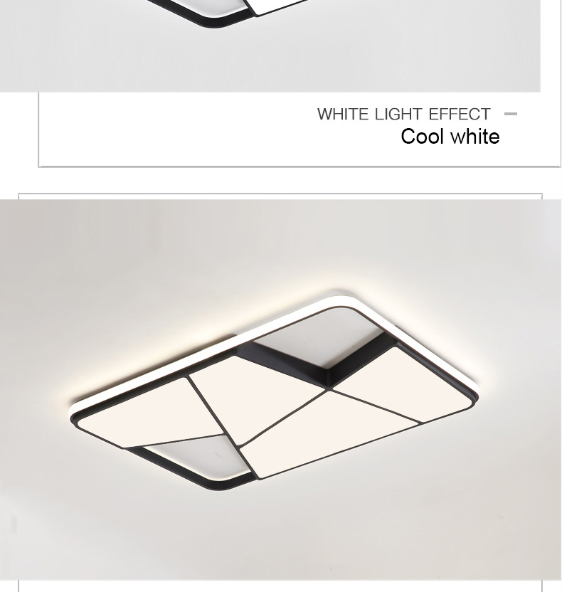 HTB1sB37XIrrK1RjSspaq6AREXXac Rectangle modern led ceiling lights for living room bedroom study room white or black 95-265V square ceiling lamp with RC