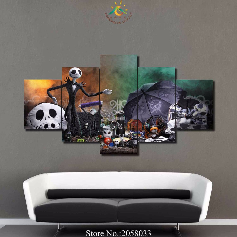 Jack skellington bathroom set - 3 4 5 Panels Set Modern Wall Art Decoration For Living Room Printed Canvas Painting Nightmare Before Christmas Jack Skellington
