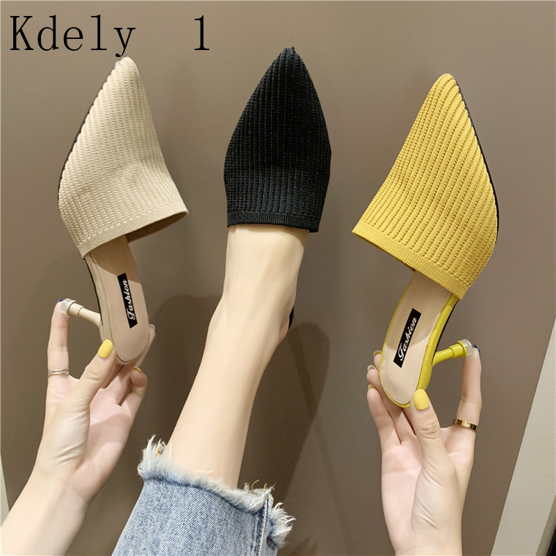 Sexy Mules Slippers Knitted Sandals Summer Slip On Slides  Pointed Toe Lace Mesh Fashion Women Shoes 2019