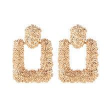 LUSION ZA Vintage Metal Scrub Square Drop Earring Woman New Bohemian Korea Dangle Earrings Fashion Jewelry Statement Accessories