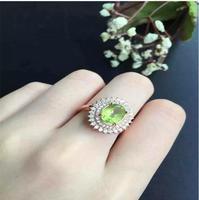 Кольцо с натуральным оливином натуральное Перидот женское кольцо 925 стерлингового серебра ювелирные украшения оптом драгоценный камень 8*10