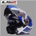 O envio gratuito de lente dupla LS2 FF370 capacete da motocicleta viseira expondo novo custo-benefício capacete full-face/Verde submundo