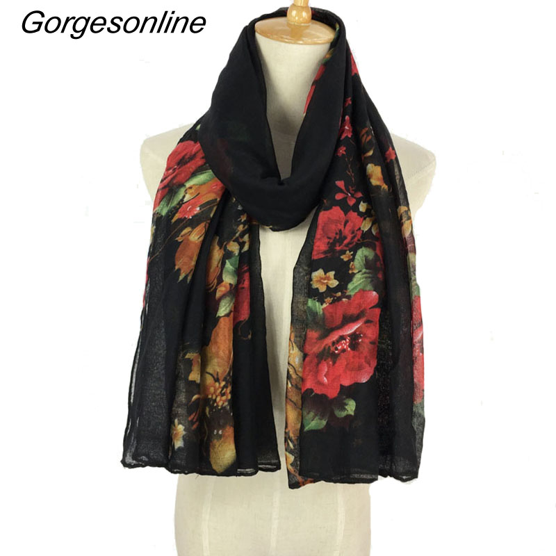 New Arrival Viscose Long Cute Floral Print   Scarf     Wraps   Shawl Soft   Scarves   Szal Jedwabny Pasminas Mujer