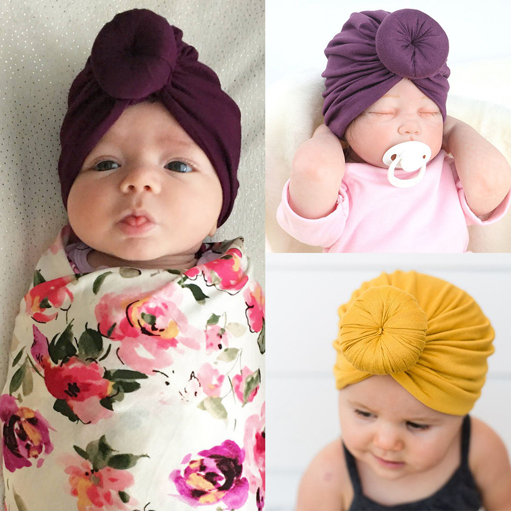 Baby Turban Hat With Bow Children Hat Cotton Blend Newborn Unicorn Beanie Top Knot Kids Photo Props Baby Shower Gift