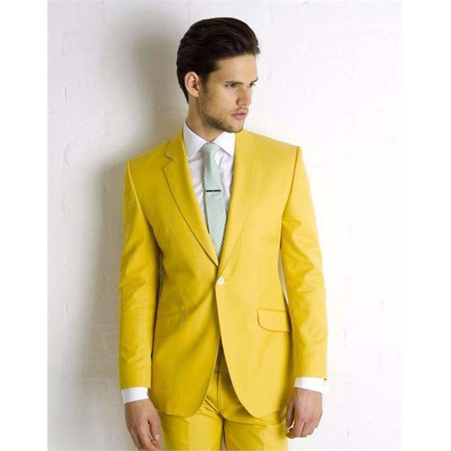 Yellow Wedding Suits For Men Handsome Groom Tuxedos One Button Slim