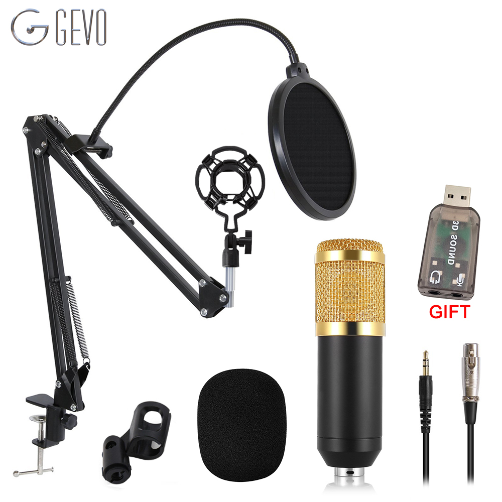 GEVO <font><b>BM</b></font> 800 Microphone For Computer Wired Studio Condenser Karaoke Mic BM800 And Pop Filter NB <font><b>35</b></font> Holder Arm For phantom power image