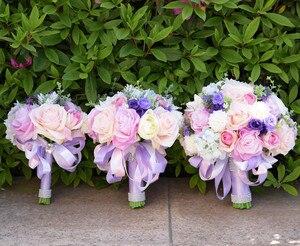 Image 5 - JaneVini Romantic Purple Wedding Flowers Bridal Bouquets Silk Artificial Flower Rose Bridal Brooch Accessories Buque De Noiva