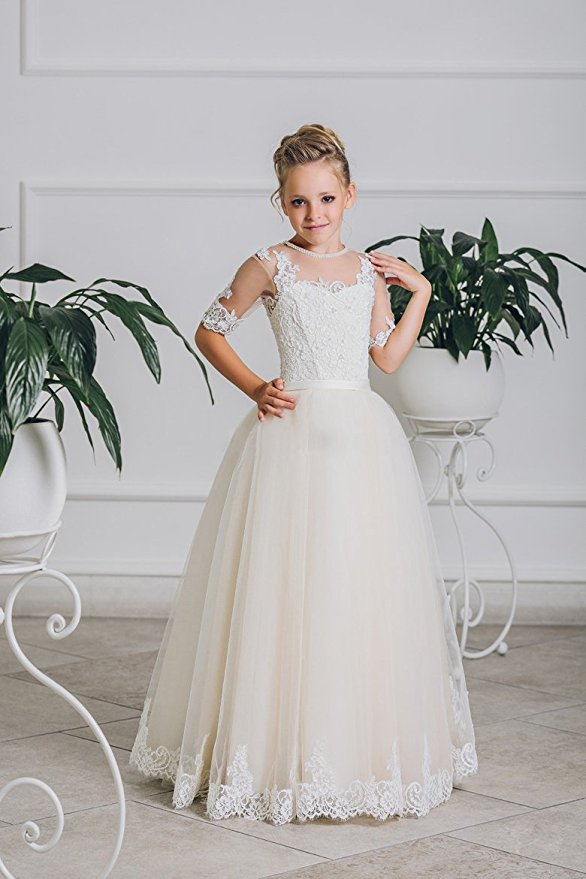 A-Line Flower Girl Dress Mint White O-neck Little Girl Pageant Dresses Kids Party Dress Half Sleeve Lace Mother Daughter dresses