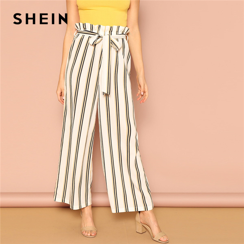 SHEIN White Paper-bag Waist Belted Striped   Wide     Leg     Pants   Office Lady Trousers Women Mid Waist Spring Workwear Elegant   Pants