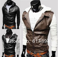 Leather Jacket 2016 New Arrival Knitted Sleeve Leather Brief Paragraph Men's Hooded Motorcycle Leather Fashion Casual Coat