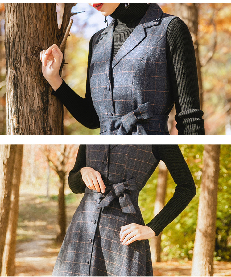 TANG Spring Autumn Velvet Dress Women's Black Vintage Wool Elegant Bodycon Party Dresses Plaid Long Maxi Dress vestidos (7)