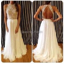 Backless Weiß Chiffon Abendkleider Lange Pailletten und Perlen Abendkleider Open Back