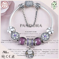 Hot Sale New Arrvial Good Quality Purple Series DIY European 925  Pure Silver Bracelet For Girls