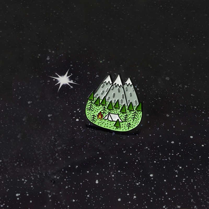 Классные подарки для улицы! Мой Мир лунный свет горный лес Приключения Исследуйте палатку для кемпинга примитивные эмалированные нагрудные броши булавка