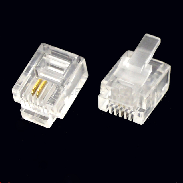 200pcs rj11 connector crystal head 6p2c two wire adapter telephone rh aliexpress com