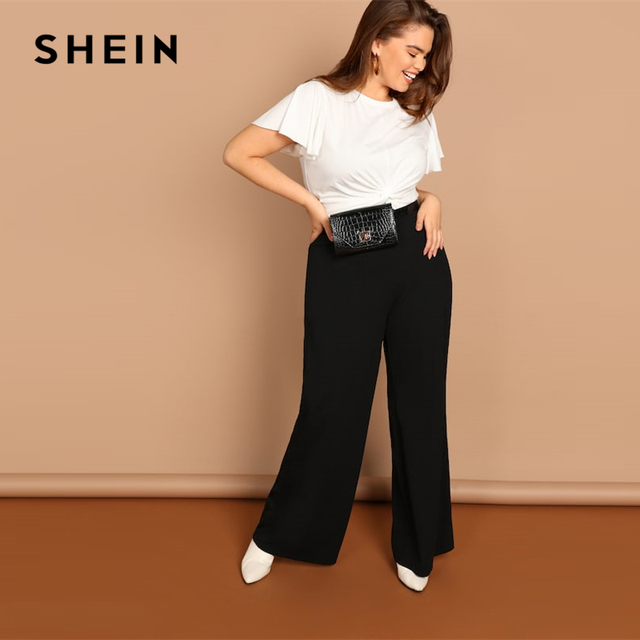 SHEIN Black Plus Size Plain Loose Wide Leg Long Pants Women Office Lady Minimalist 2019 Spring Fashion Solid Trousers 3