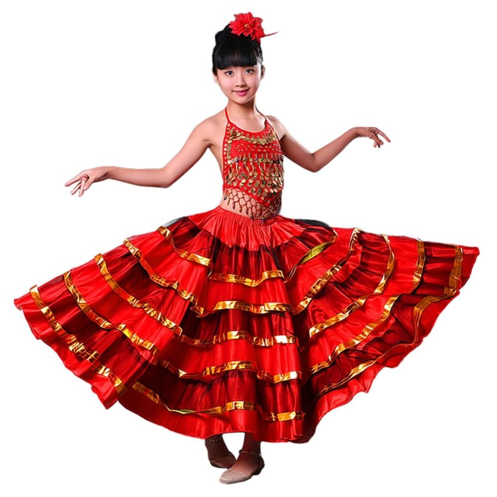 Girls Red Belly Dance Dress Spanish Flamenco Costume Ballroom Tribal Dress With Head Flower tribal print dress