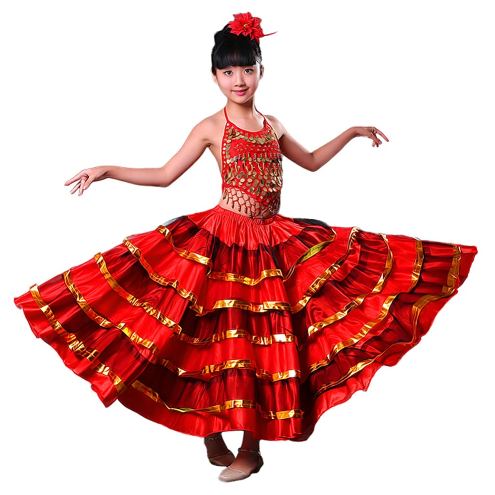 Girls Red Belly Dance Dress Spanish Flamenco Costume Ballroom Tribal Dress With Head Flower