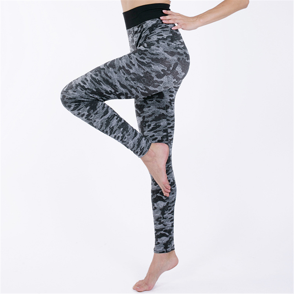 Ariel Sarah Yoga Pants Camouflage Gym Leggings Seamless Leggings Women Tummy Control Legging Tights Woman Push Up Elastic(China)