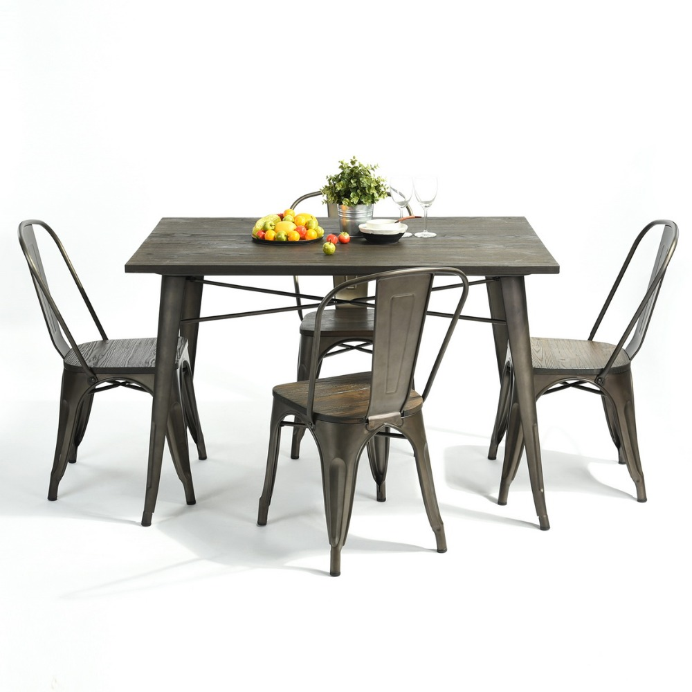 Modern Industrial Dining Table Sets: EGGREE Modern Industrial Outdoor Metal Cafe Table Dining