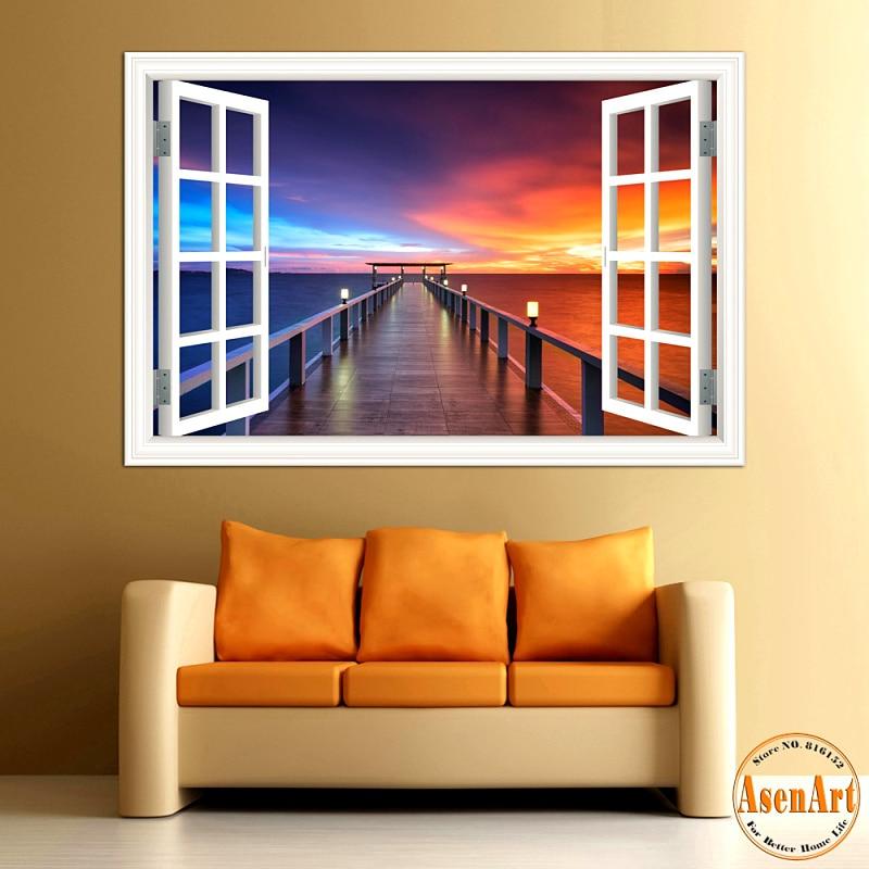 3d Wall Sticker Seaside Bridge Beautiful Sunset Window
