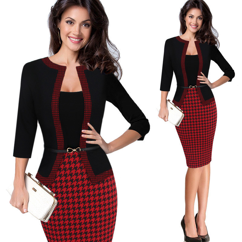 2017 Autumn Style Women Formal Bodycon Dress Elegant Plaid Three Quarter Pencil Dresses Office ...