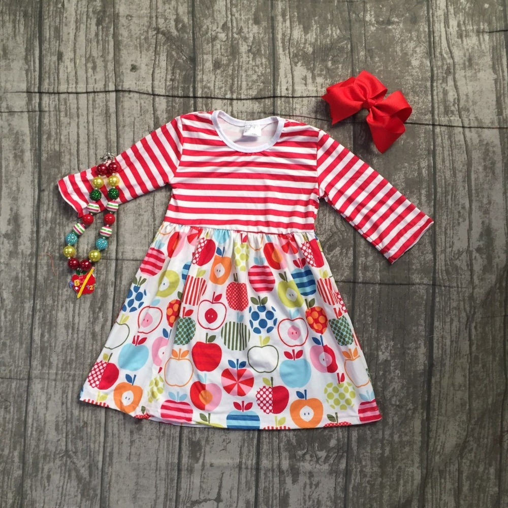 2018 back to school Fall baby girls kids boutique clothes children stripe dress long sleeve apple cotton tops match accessories thanksgiving baby girls kids fall striped brown outfits dress pumpkin boutique cotton sleeve children clothes match accessory