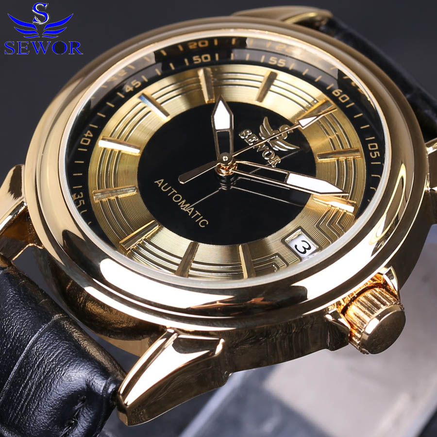 Relogio Masculino SEWOR New Men's Automatic Mechanical Watch Leather Strap Watch Fashion Sports Men's Luxury Watch