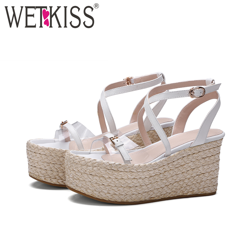 ФОТО WETKISS 2017 Genuine Leather Gladiator Sandals Women Narrow Band Buckle Strap Summer Shoes High Straw Weave Wedges Platform Shoe