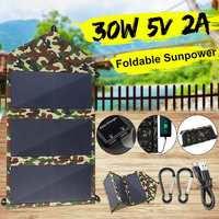 Folding Solar Panel 30W Sun Power Solar Cells Charger 5V Double USB Output Devices Portable Solar Panels for Smartphones