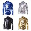 Men Trend Night Club Coated Metallic Gold Silver blue stage performances shiny Shirts Fashion Long Sleeves Dress Shirts For Men