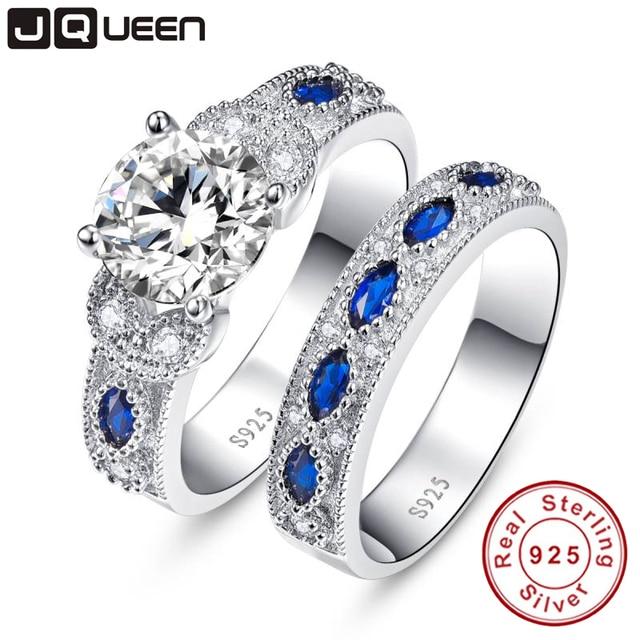 c90dd0902188 Conjunto de anillo de plata 925 de compromiso de boda 2 piezas de joyería  de plata