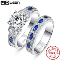 High Quality White CZ&Sapphire Solid Real Sterling Silver Jewelry 2 Pcs Wedding Engagement 925 Silver Jewelry Ring Set