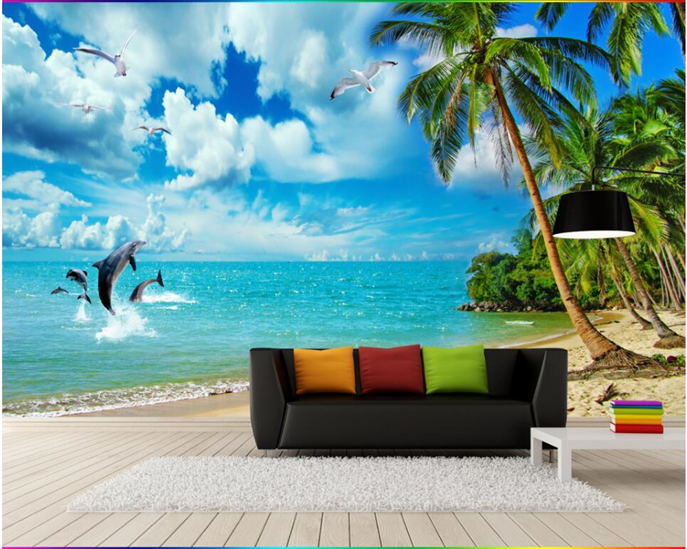 Beibehang Custom Wallpaper 3D Sea Scenery Beach Coconut